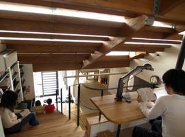 書斎,ワークスペース,リビング,ダイニング,ロフト,作り付けの巨大本棚